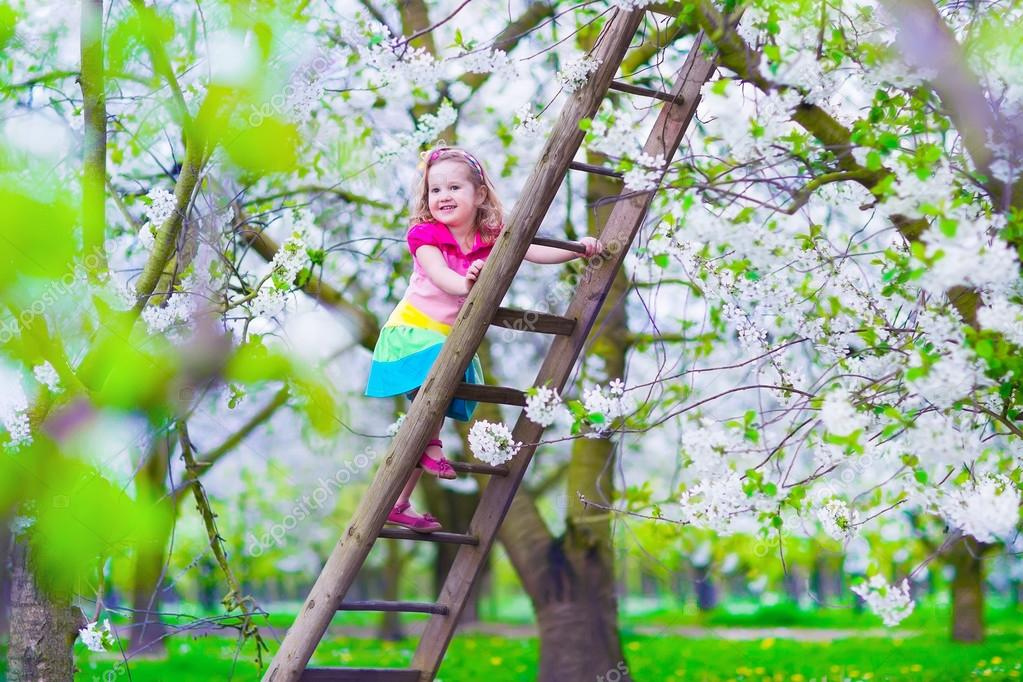 Little girl on a ladder in apple tree garden