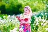 Fotografie Kleines Mädchen mit Wasser kann in einem Gänseblümchen Blumenfeld