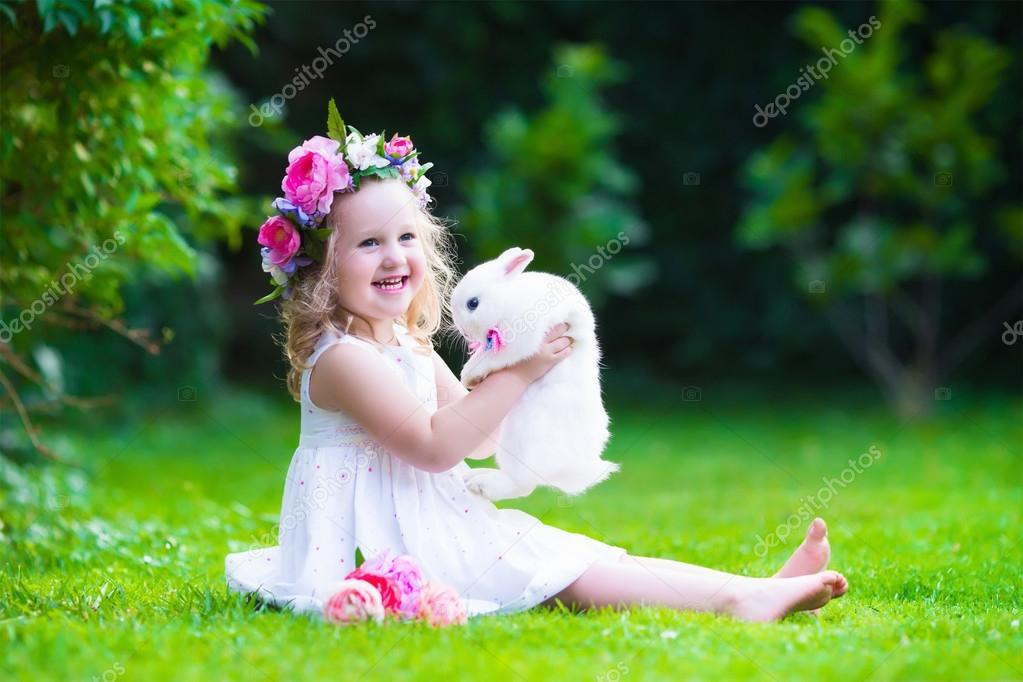 Pictures Play Bunny Cute Girl Playing With Real Bunny Stock
