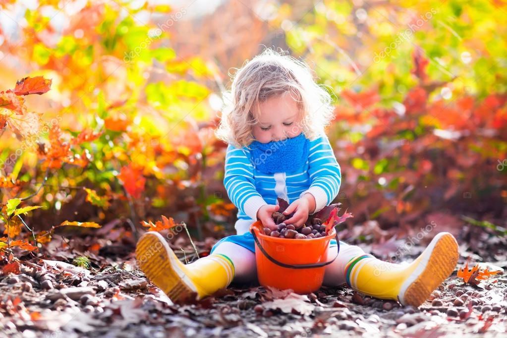 Little girl picking acorns in autumn park
