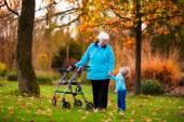 Photo Senior lady with walker enjoying family visit