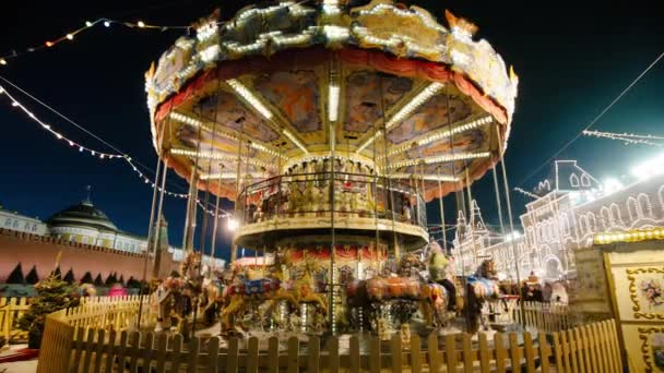 Christmas carousel. Time-Laps