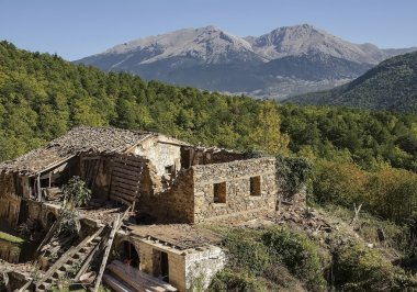 Old abandoned house on mountain