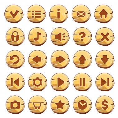 Set of gold round buttons, vector game icons