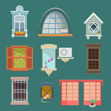 Set of illustrations with a vintage windows