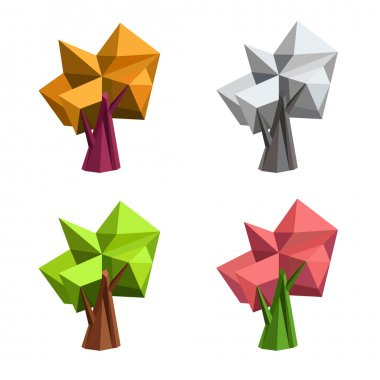 Low poly polygonal tree. Abstract vector Illustration. Logo design.
