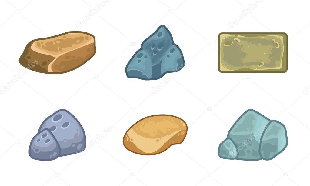 Cartoon stones and minerals set
