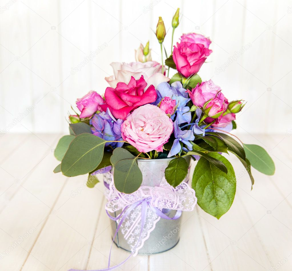 flowers. bouquet of roses in a bucket