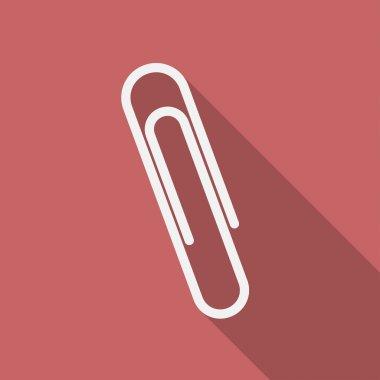 Icon of paper clip. Flat design