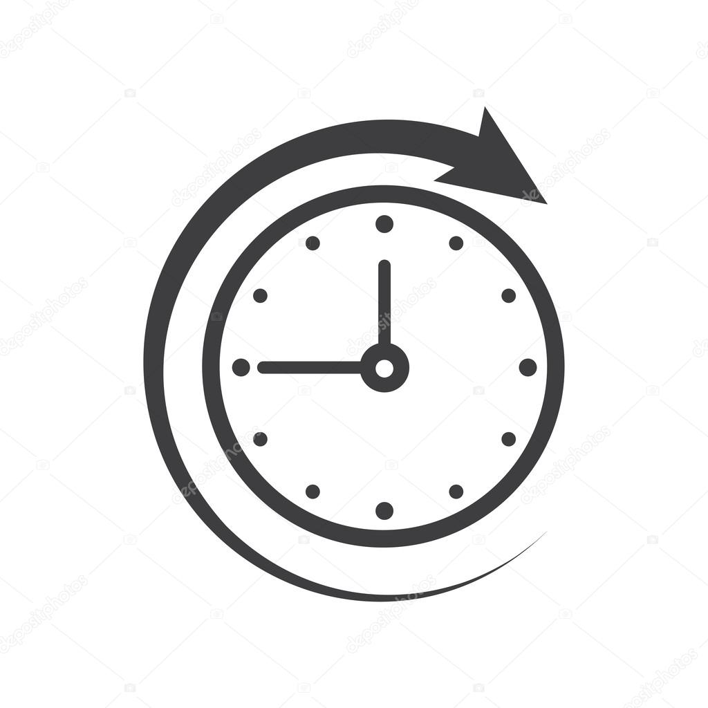 icon of symbol sign open around the clock or 24 hours a day stock