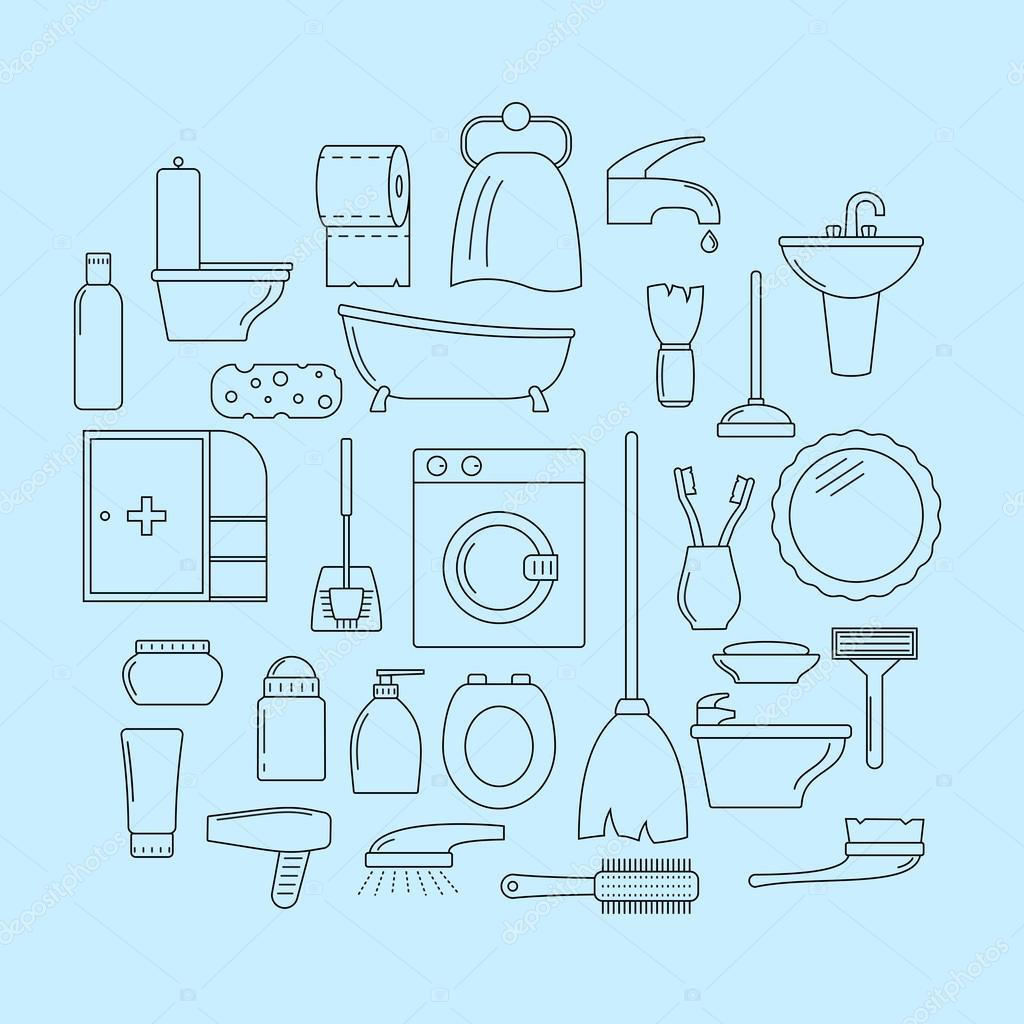 Set van lijn iconen. Badkamer thema — Stockvector © -panya- #69257833