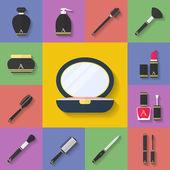 Make-up, kosmetische Symbole gesetzt. flacher Stil