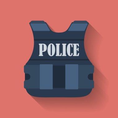 Icon of police flak jacket or bulletproof vest. Flat style