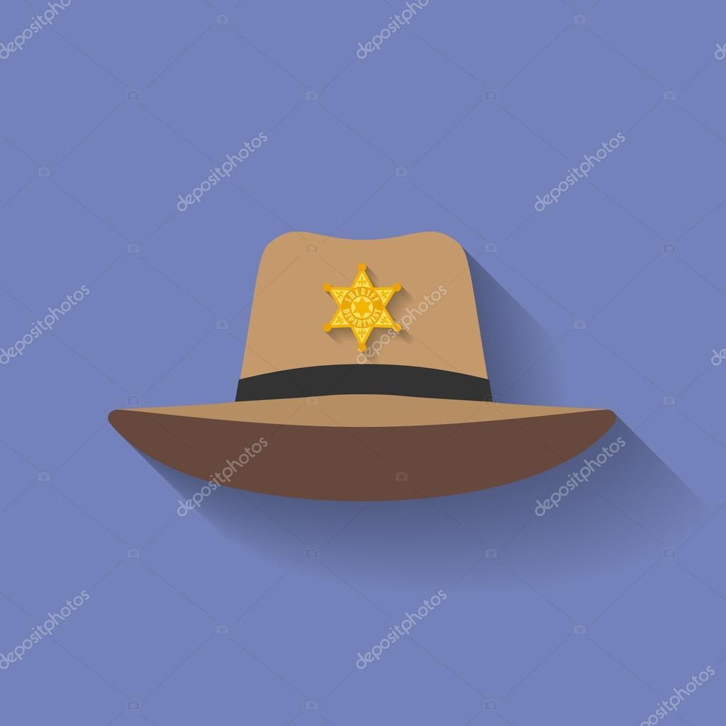 Ikona šerif klobouk kovbojský klobouk. Ploché styl — Stock Vektor ... 297400e45c