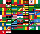 Photo Set of flags of African countries. Vector flags of Africa