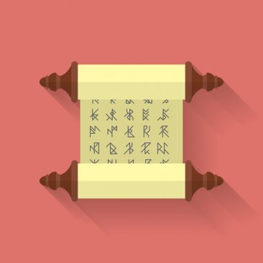 Ancient scroll or parchment with runes. Vector icon. Flat style