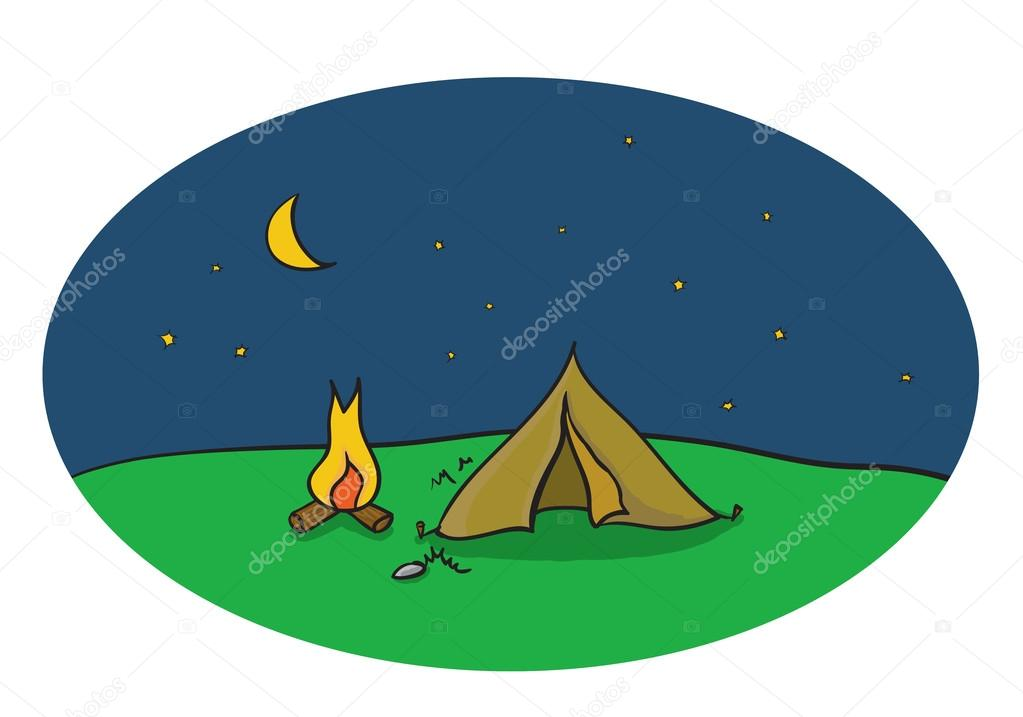 Vector Drawing Of Night Camping Scene With Tent And Campfire Stock