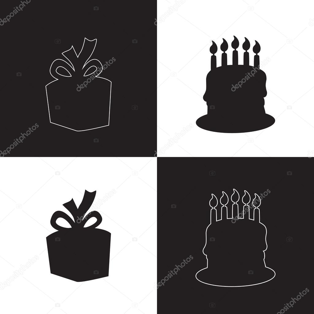 Black White Happy Birthday Squares Background With Silhouette Of Gift And Cake Stock Vector