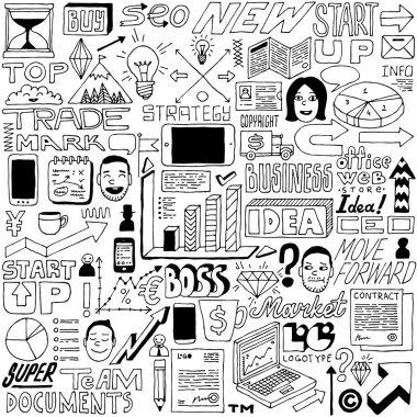 Business idea doodle set.