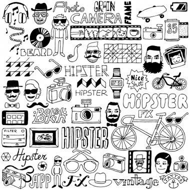 Hipster doodle mega set