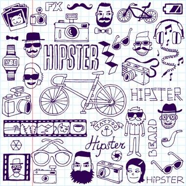 Hipsters doodles set.