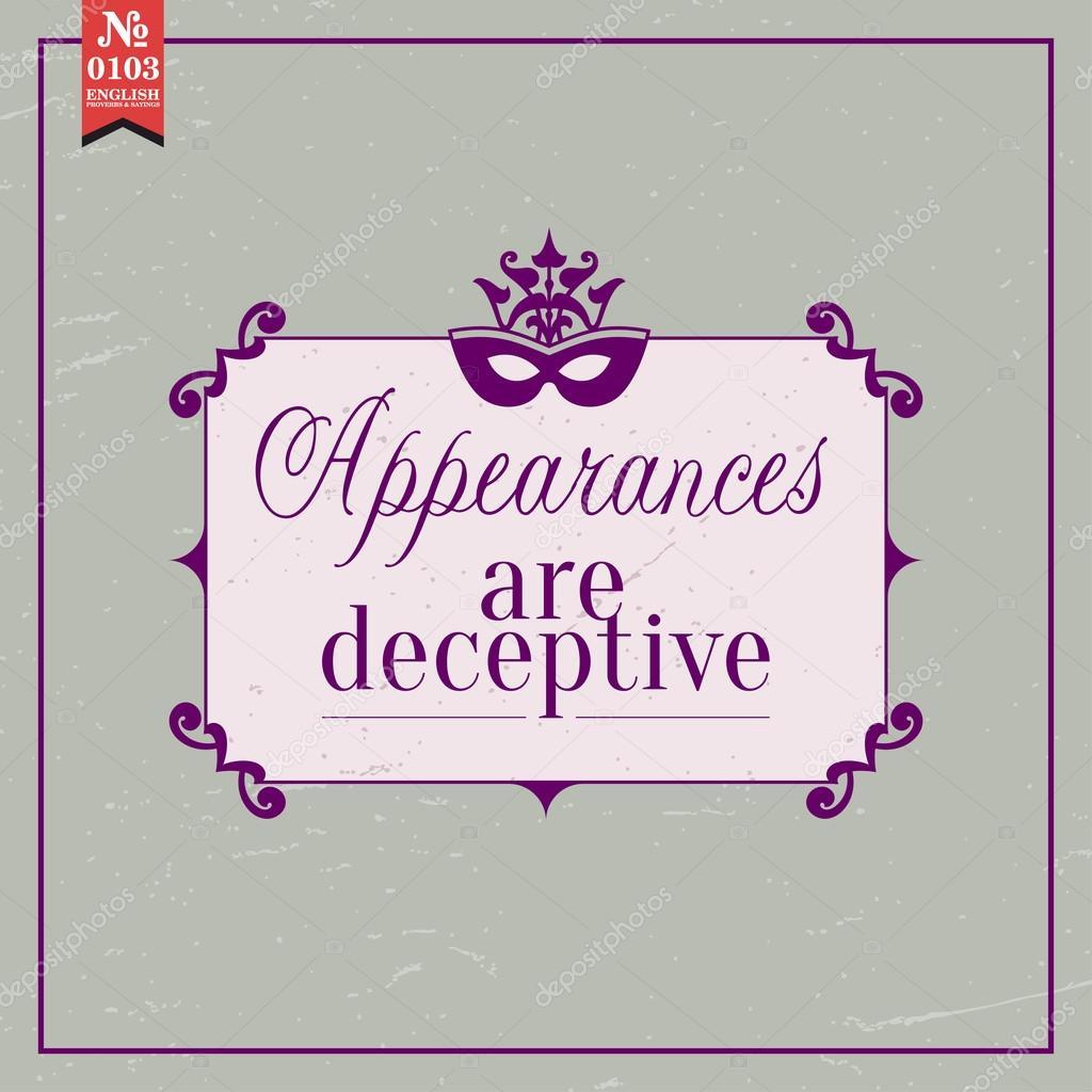 Apparences Sont Trompeuses Proverbe Image Vectorielle
