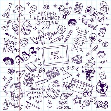 Back to school doodle set notebook