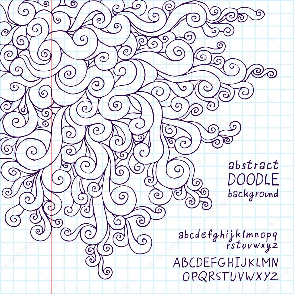Abstract Doodle Background School Notebook