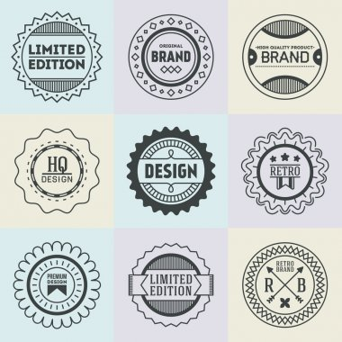 Assorted retro design insignias logotypes set . Vector vintage elements. clip art vector
