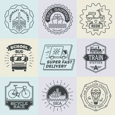 retro design insignias transport