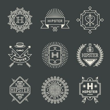 hipster insignias logotypes set
