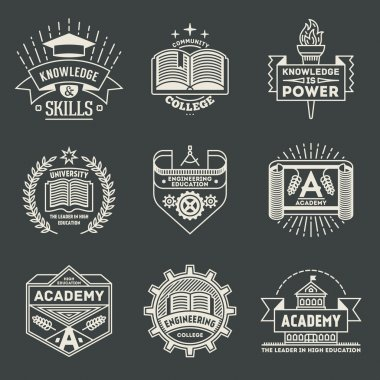 Assorted retro design insignias high education logotypes set . Vector vintage elements. clip art vector