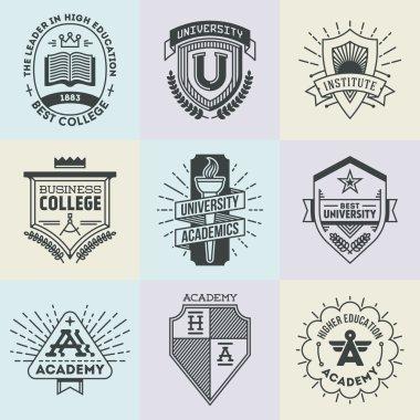 high education logotypes set