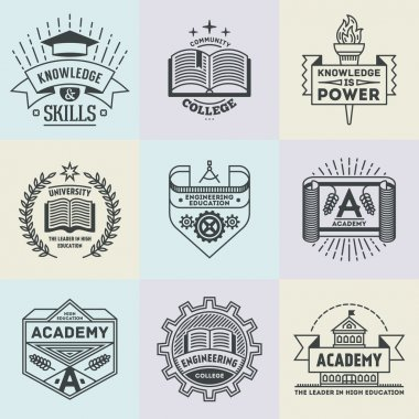 high education logotypes set