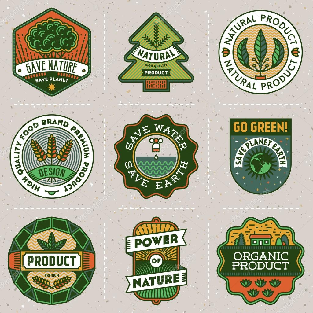 logotypes natural green product set