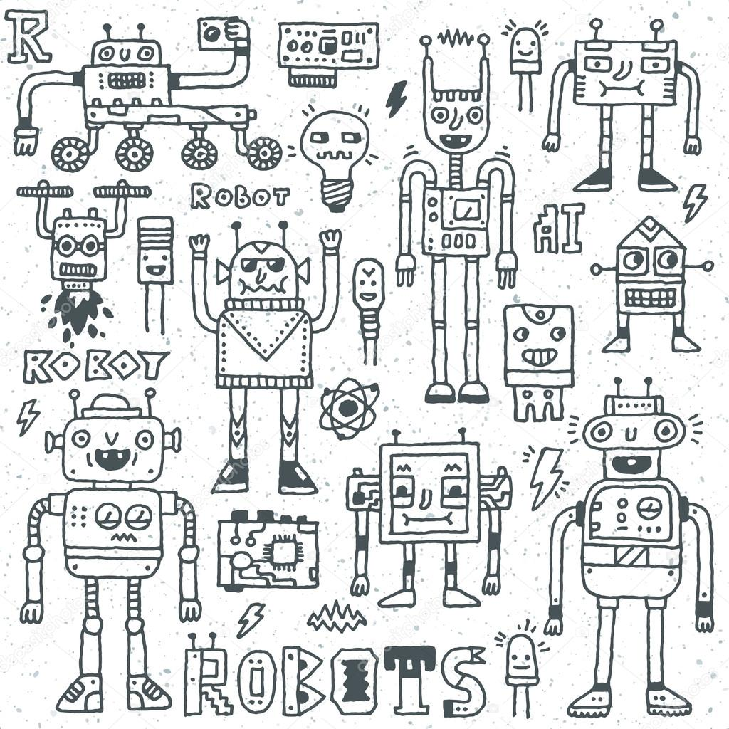 Robots,Electrical, Circuits, Microschemes. — Stock Vector ...