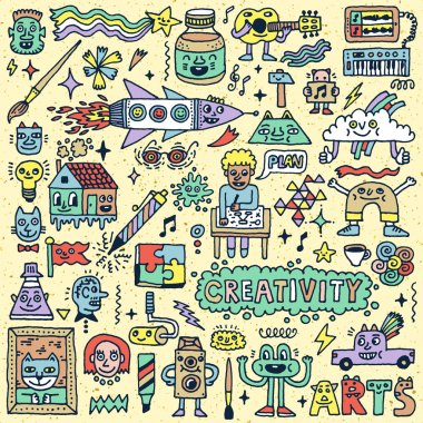 Creativity Activities Cartoon Set
