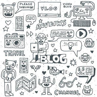 Blogging doodle fancy wacky set