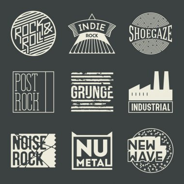 Rock music insignias logotypes set