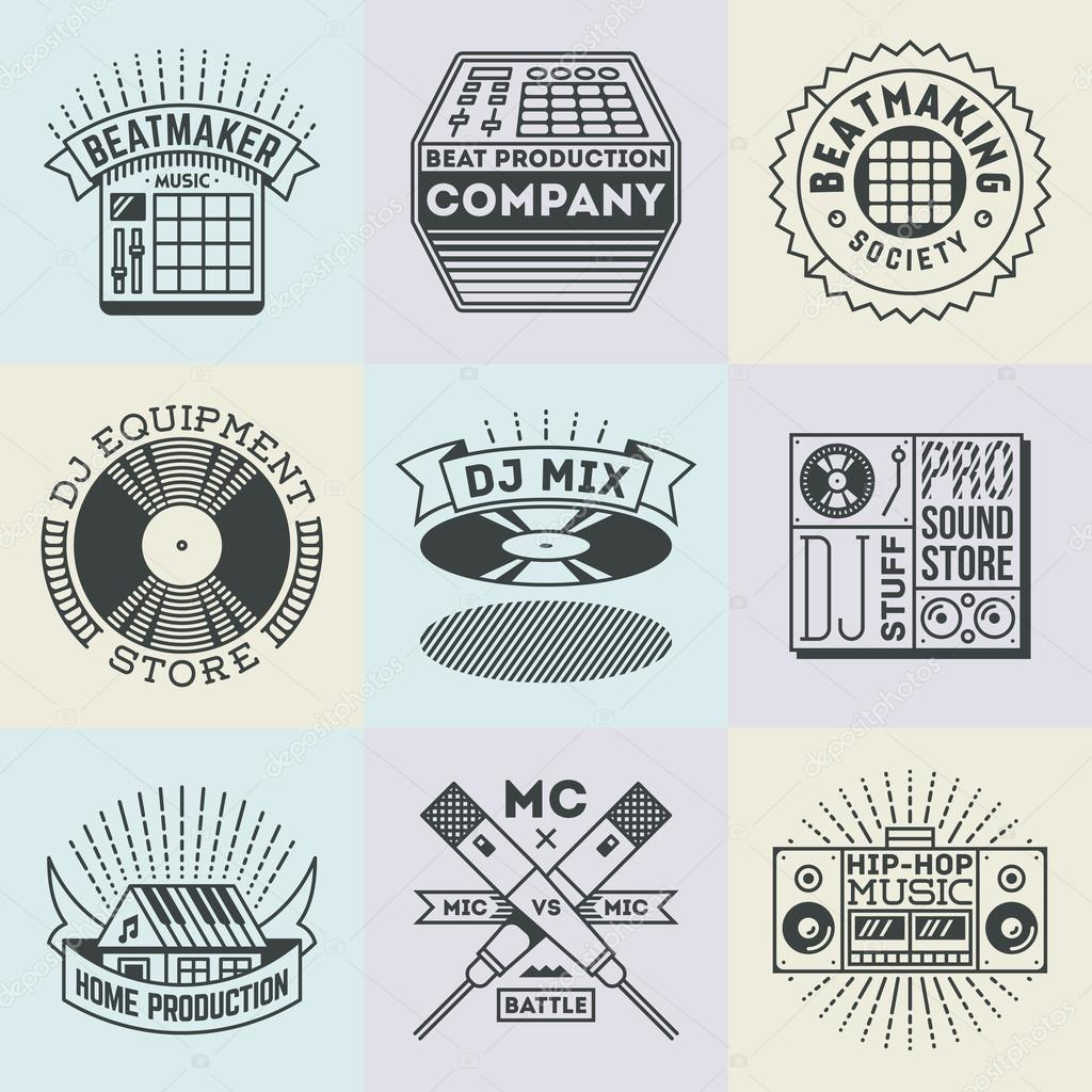 Orted Hip Hop Music Insignias Logotypes Template Set Line Art Vector Elements Vector By Sashatigar