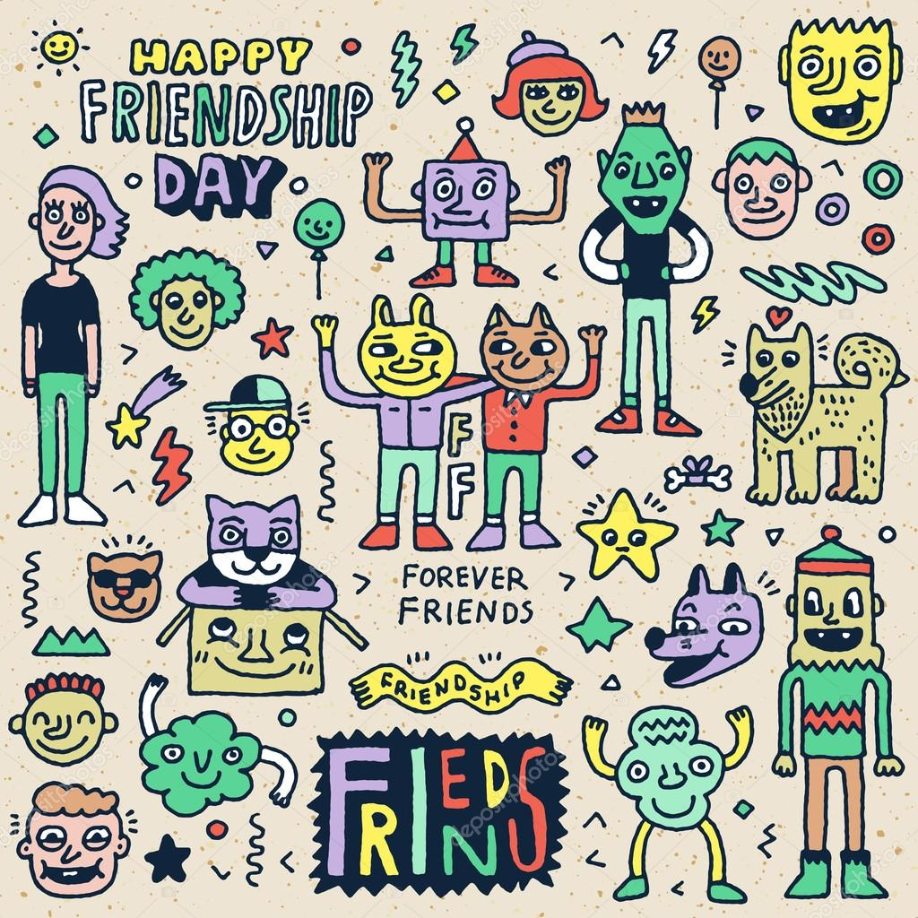 Happy Friendship Day Doodle Set Stock Vector Sashatigar 94805248