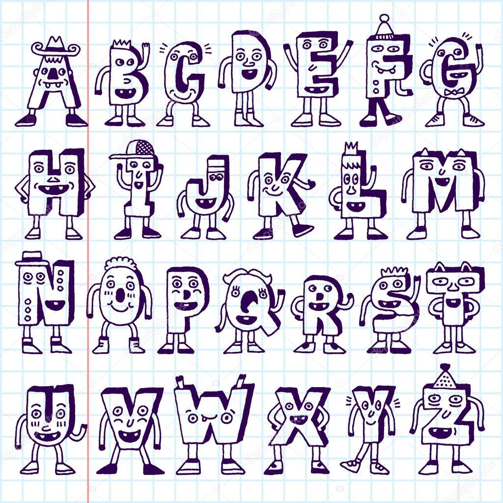 Depositphotos Stock Illustration Abc Funny Alphabet Characters Petter Och Hans Fyra Getter