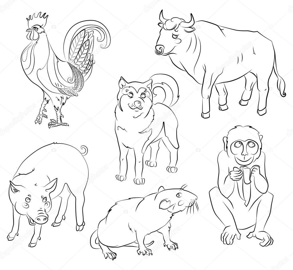 Gallo, perro, cerdo, rata, mono y buey — Archivo Imágenes ...