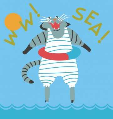 Cat goes swimming in the sea