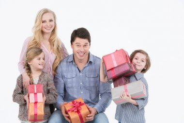 Happy family with gifts.