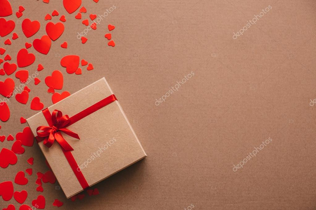 Heart Background Valentines Day Abstract Paper Hearts And Gift Box