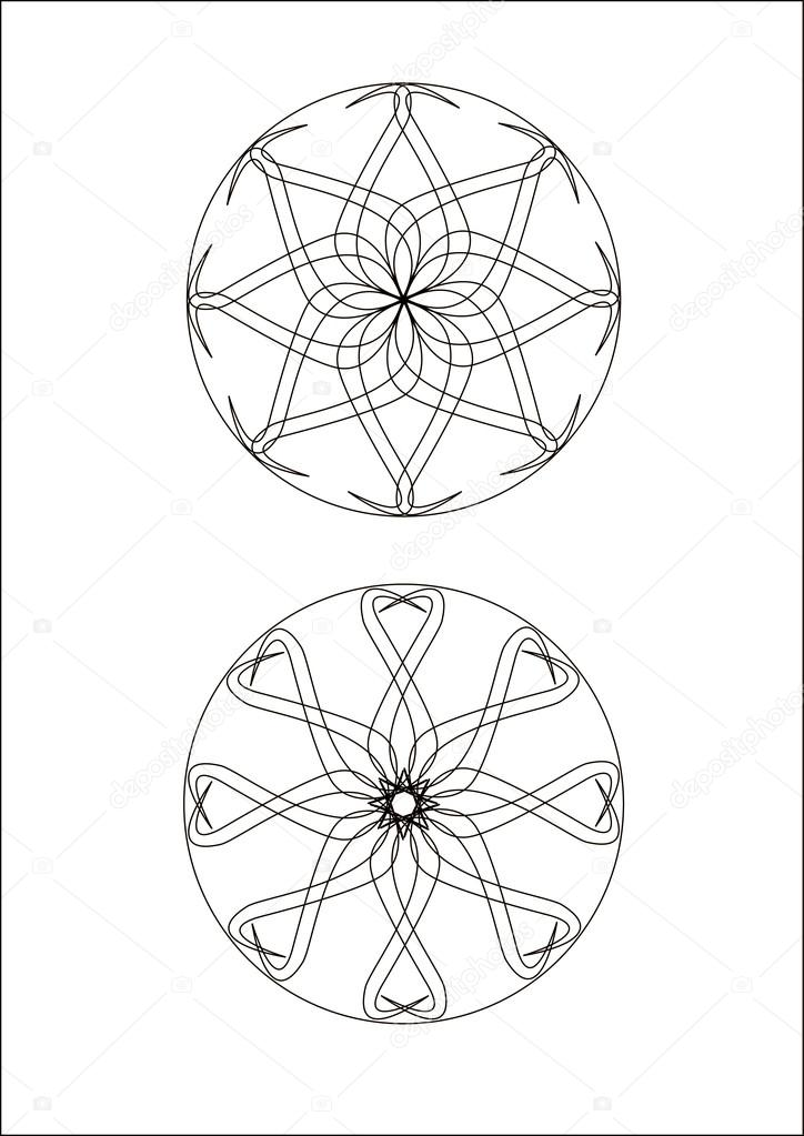 Mandala zeichnen Bild Abbildung Färbung — Stockvektor © thandreola ...