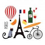 Französische küche comic  Lustige Comic-Figuren-set traditionelle französische Küche mit ...