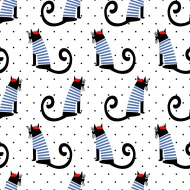 French style cats seamless pattern