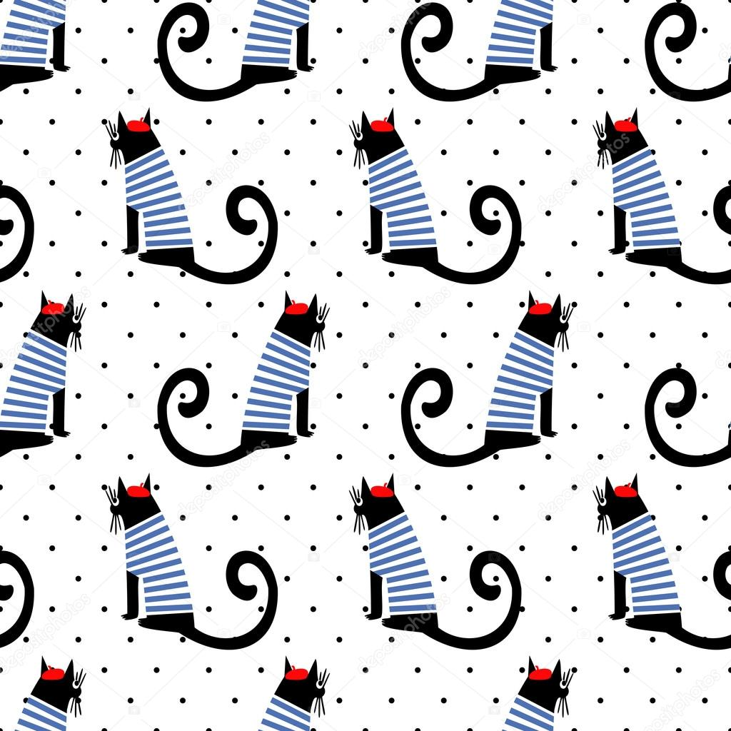 French Style Cats Seamless Pattern Image Vectorielle